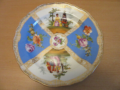 """Antique Meissen, Germany hand painted cabinet plate floral courting scene 8 3/8"""""""