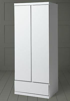 NEW Tesco Maine 2 Door 1 Drawer Double Wardrobe - (Gloss White)