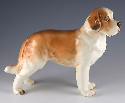 "Vintage Ceramic Saint Bernard Dog Figurine 5"" High Gloss Finish H03103"