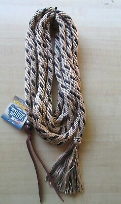 "SILVERTIP 22' x 5/8"" Mecate Poly Rope Reins w  Knot + Tassel Tan Black Brown USA"