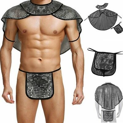 Sexy GAY Men Sequins Roman Gladiator Fancy Costume Outfits Cape+Collar+G-string