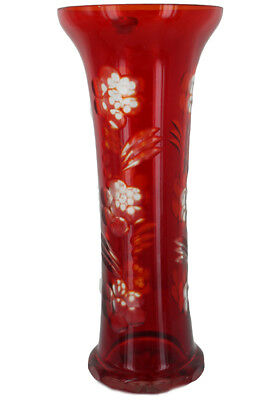 Tall Vintage USSR Russian Glass Cut To Clear Glass Ruby Red Floral Czech Crystal