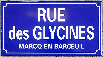 Old French enamel street sign road name glycines wisteria Marcq-en-Barœul Lille