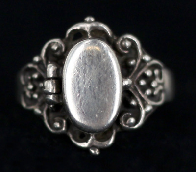 Antique Sterling Poison Ring Ornate Art Nouveau Srolled Oval Top No Initials 8.7