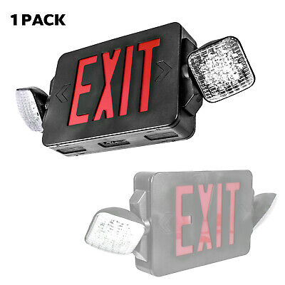 LED Exit Sign & Emergency Light Red Sign Black Body Compact Combo Lighting UL