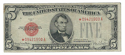 1928F (Narrow) $5 United States Red Seal, *star* Note, Fr1531N*, Fine/very Fine