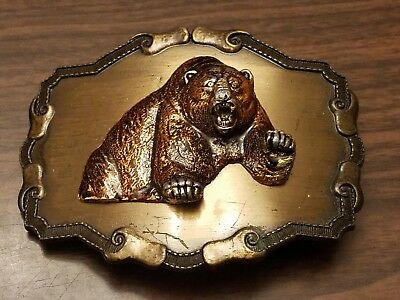"Vintage 1978 RainTree Bear Belt Buckle 3 1/2""W x 2 3/4"" T"