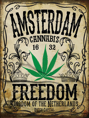 AMSTERDAM FREEDOM FUNNY METAL SIGN HOME DECOR:MANCAVE:BEDROOM:OFFICE:KITCHEN