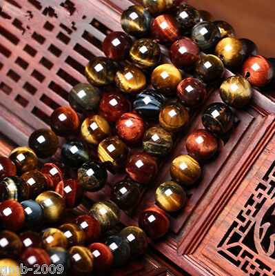 pretty 10mm Natural Colorful Tiger's Eye Stone Round Beads AAAA