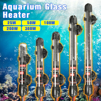 25/50/100/200/300W Aquarium Water Heater Submersible Fish Tank Adjustable Rod AU