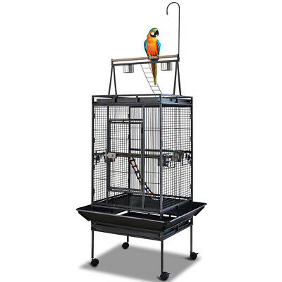 Bird Cage Parrot Aviary Pet Stand-alone Budgie Perch Castor Wheels Large 173CM