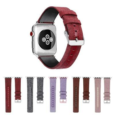 Genuine Canvas Leather Adjustable Watch Band Wrist Strap for iWatch Series 1 2 3