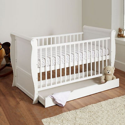 4Baby White Sleigh Cot Bed + Under Bed Storage Drawer & Maxi Air Cool Mattress