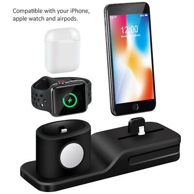 Wireless Charging Dock Stand Station For iPhone Apple Watch AirPods 3 in 1 kit