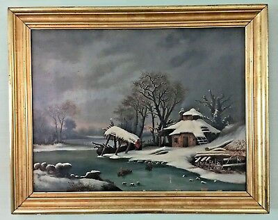 Vintage Original Oil Painting Snow Village in Antique Gold Frame Unsigned 45x36