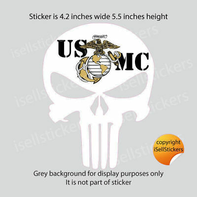 MA-3164 Marine Punisher Skull USMC White EGA Bumper Sticker Window Decal