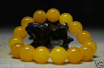 Delicate Chinese Fine Natural Yellow Jade Hand Made Bracelet Beautiful 12mm