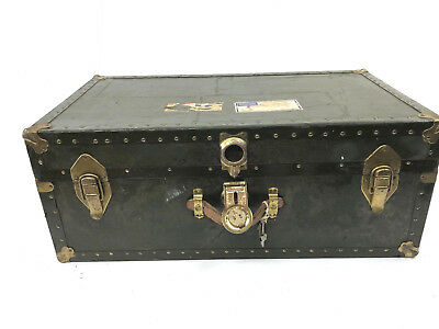 Vintage GREEN STEAMER TRUNK Key wood crate storage chest industrial coffee table