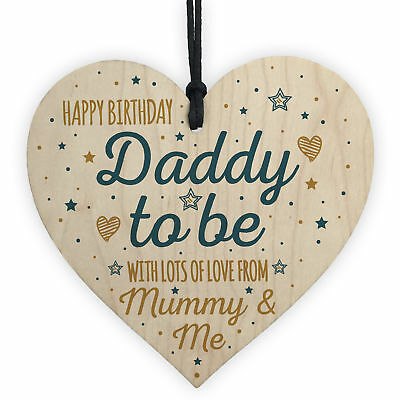 Happy Birthday Daddy To Be From Bump Wood Heart Dad Father Funny Card Baby Gift
