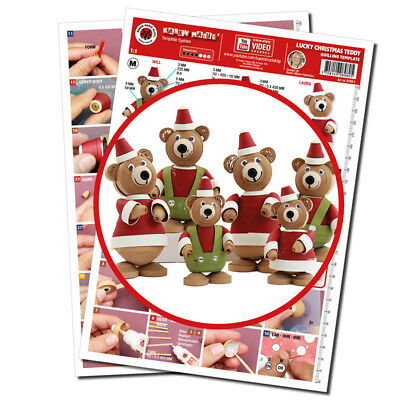 Quilling Template, Little Lucky Teddy Christmas
