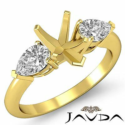 Genuine Diamond Engagement 3 Stone Ring 18k Yellow Gold Pear Semi Mount 0.5Ct