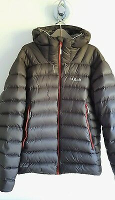 RAB ELECTRON MENS Down Hooded Jacket Large Graphene Grey Red ... 4a080621c