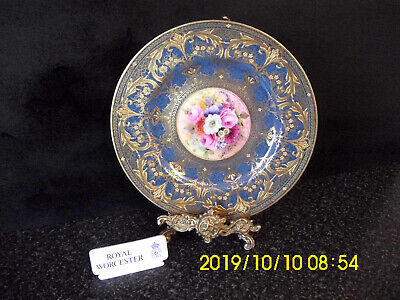 Royal Worcester Hand-Painted & Heavily Gilt Plate Floral Signed E Phillips