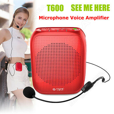 T600 Portable Headset microphone Voice Amplifier Wired 120HZ-18KHZ Waistband Red
