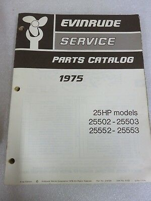 1975 omc evinrude parts catalog manual 279799 25 hp outboard marine oem  factory