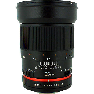 Rokinon 35mm F/1.4 AS UMC Wide Angle Lens for Nikon with Automatic Chip