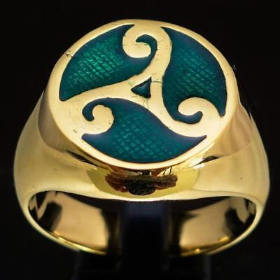 Mens Bronze Celtic Costume Ring Triade Water Power Triskele Dark Green Any Size