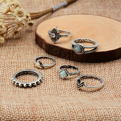 6pcs Vintage Women Bohemian Silver Crystal Hollow Midi Joint Knuckle Ring Set S
