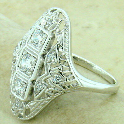 Art Deco 925 Sterling Silver Antique Style Cubic Zirconia Ring Size 9,     #1148