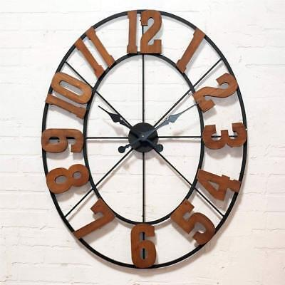 Large Rustic Wall Clock with Wood Numbers and Metal Frame Wall Art Decor