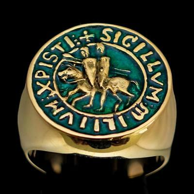 Mens Bronze Medieval Costume Ring Templar Knight Seal Dark Green Enamel Any Size
