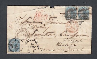 INDIA 1871 1/2a VICTORIA 'TOO LATE' COVER TO DEHLI