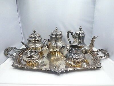 Diminutive Spanish 5 Piece .915 Sterling Silver Tea And Coffee Set
