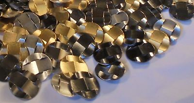 4 Lb Fine Italian Metal Shank Buttons Weave Ski Jump Look Large Size Silver Gold