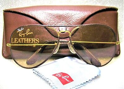 """Ray-Ban USA Vintage B&L Aviator """"Leathers"""" Brown *Changeables *Mint Sunglasses"""