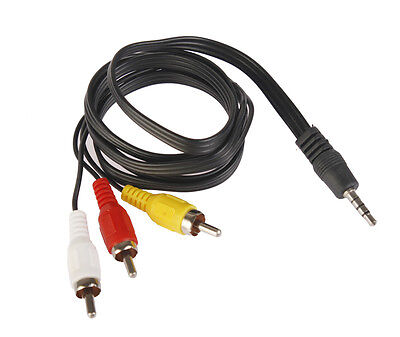3.5MM Jack to 3RCA Male Plug Adapter Audio Converter Video AV Cable Wire Cord CA