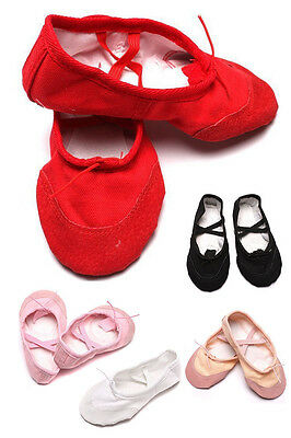 Soft Kids Girls Lady Yoga Ballet Dance Shoes Canvas Leather Sole Soft Red White