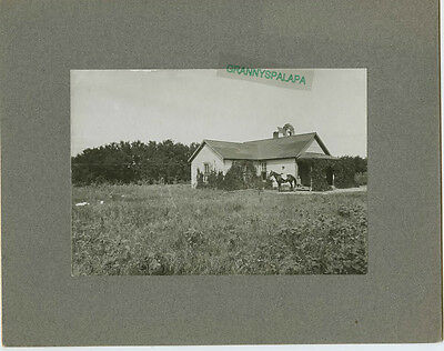 Antique Matted Photo - Old Farm - Windmill, Older Girl on Horse - Little girl on