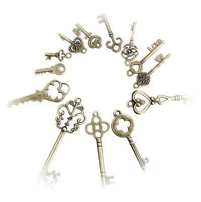 13pcs Vintage Old Look Skeleton Keys Lot Bronze Tone Pendant Jewelry Mix