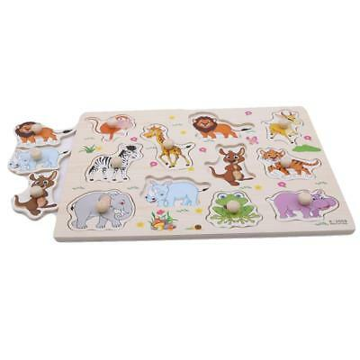 New Zoo Animals Wooden Jigsaw Puzzle Children Kids Learning Educational Toy C