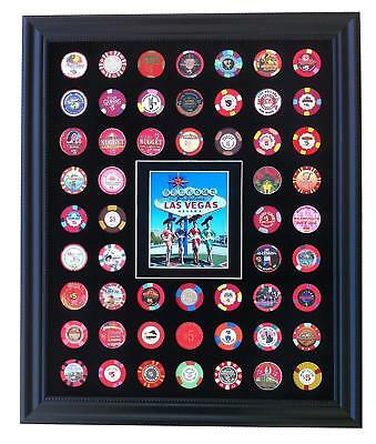 16x20 BLACK DISPLAY PICTURE FRAME FOR 54 CASINO POKER CHIPS (NOT INCLUDED)