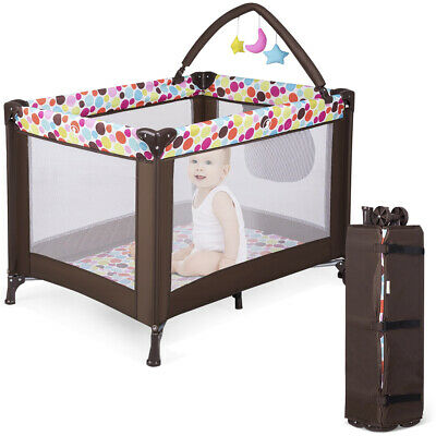 Baby Travel Cot Bed Portable Child Playpen W/ Mattress Toy Changing Table Bag