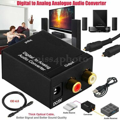 Digital to Analogue Audio Converter Adapter Coaxial Coax Optical Toslink RCA  UQ