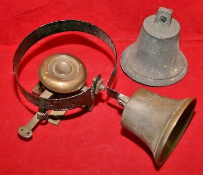Antique Victorian Bronze Butlers/Servants Bell on Spring - Medium size 10 & Bell