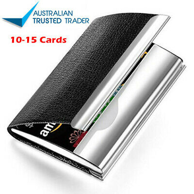 Business Card Holder Case Cover Black PU Leather Metal Credit Card ID Card AY