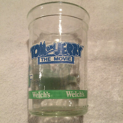 Vintage 1993 Welchs Tom and Jerry The Movie Jelly Juice Glass Jar Collectors vgc